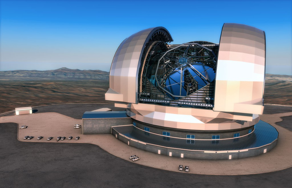 This artist's impression shows the European Extremely Large Telescope (E-ELT) in its enclosure. The E-ELT will be a 39-metre aperture optical and infrared telescope sited on Cerro Armazones in the Chilean Atacama Desert, 20 kilometres from ESO's Very Large Telescope on Cerro Paranal, which is visible in the distance towards the left. The design for the E-ELT shown here is preliminary.
